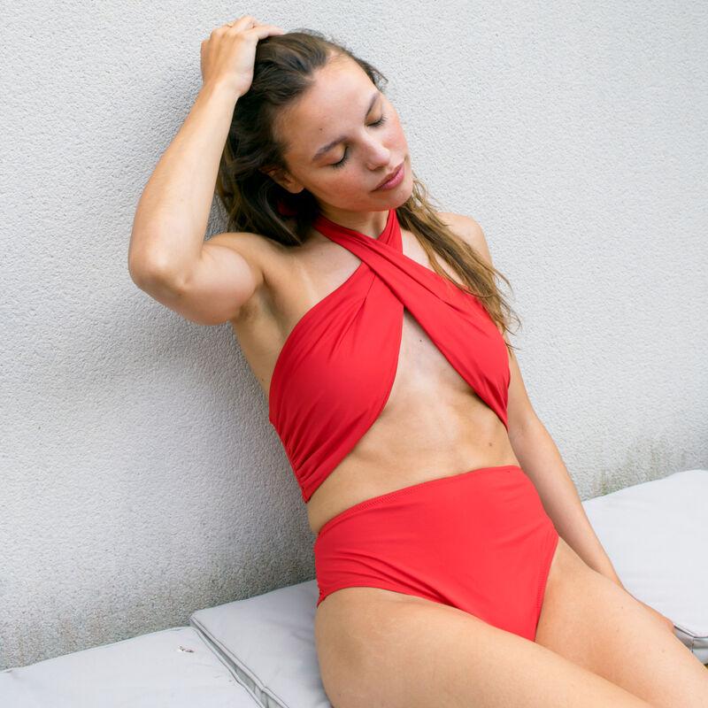 parte de arriba de bikini sujetador efecto fular - naranja;