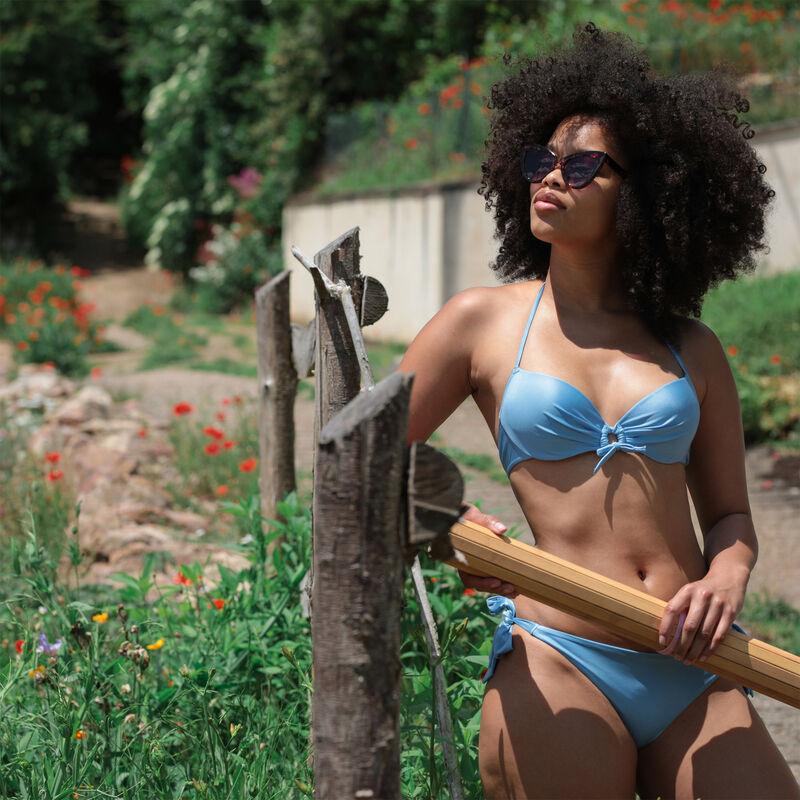 Parte de arriba de bikini push up satinado con detalle en el escote - azul;