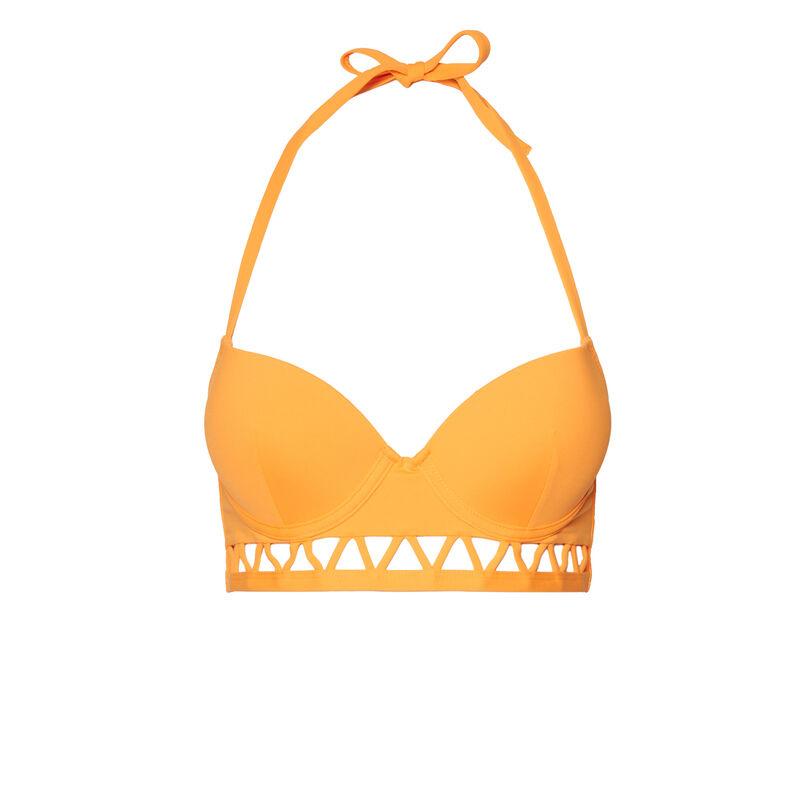 Parte de arriba de bikini push-up con espalda abierta y detalle azteca - naranja;