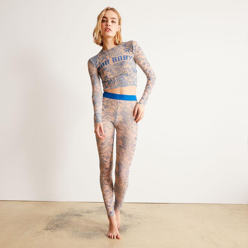 Leggings de rejilla efecto tatuaje - nude;