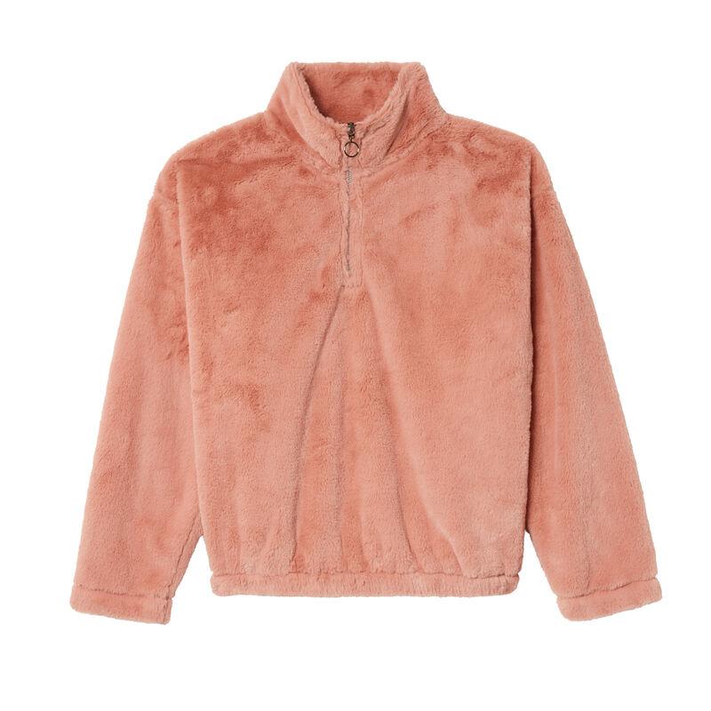 sudadera de fibra polar con cuello de cremallera - rosa nude;