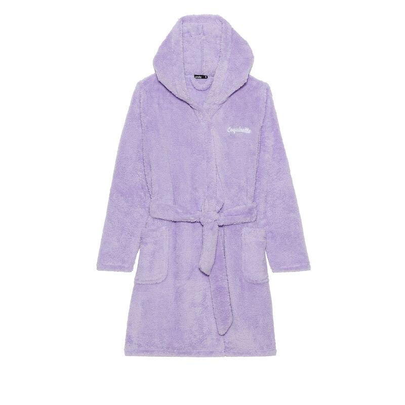 albornoz de polar con mensaje coquinette - violeta;