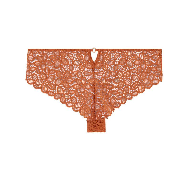 braguita culotte de encaje con flores y detalle de anillas - marrón;
