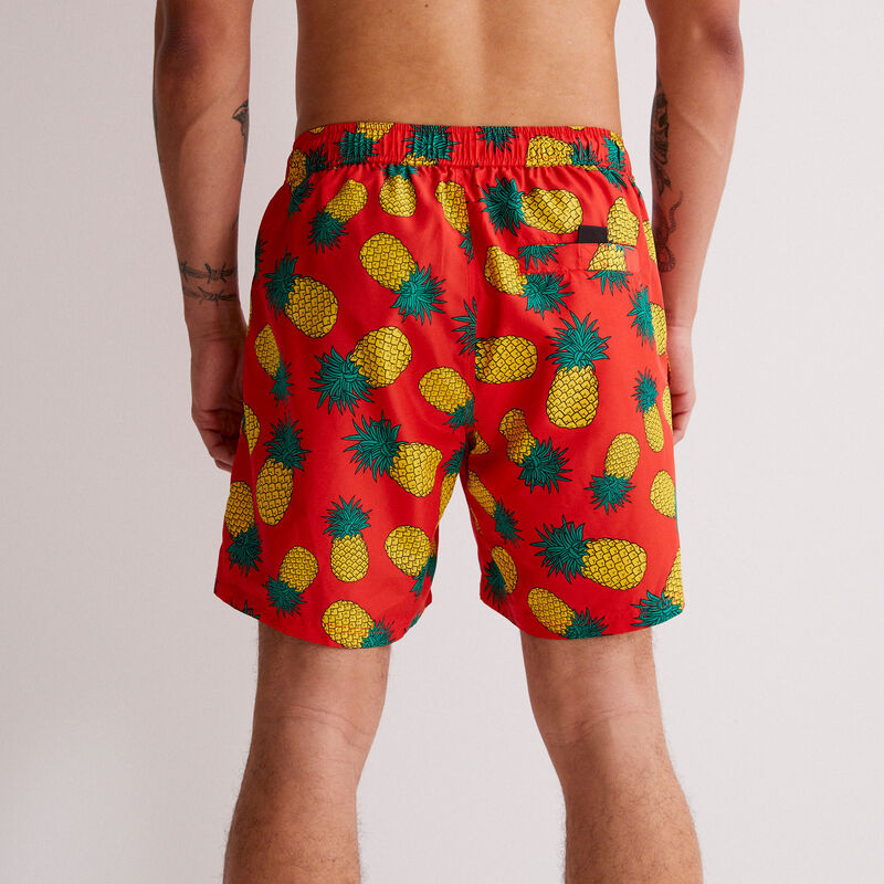 shorts de baño con estampado de piñas - rojo;