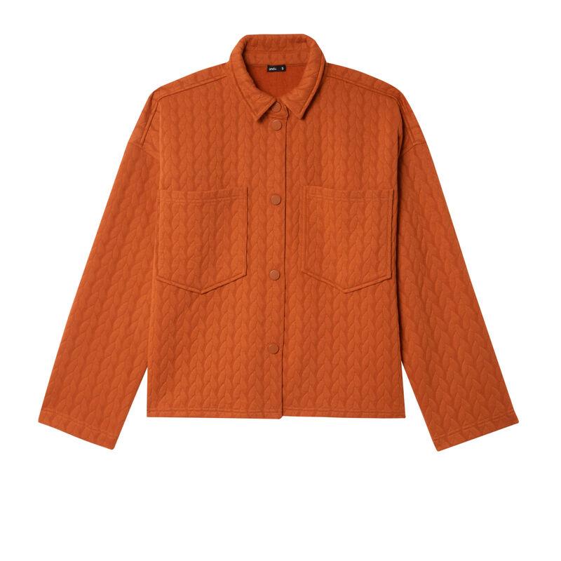 chaqueta con corchetes y bolsillos de parche - camel;