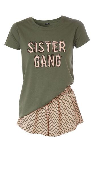 Conjunto de pijama verde caqui saliliz green.