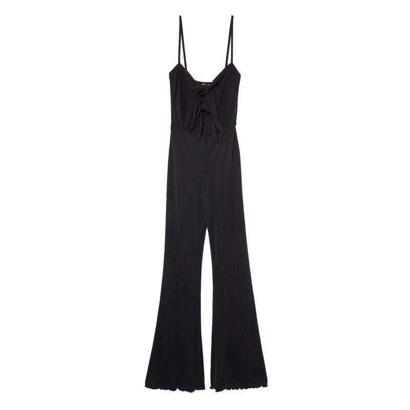 mono pantalón con detalles de lazos - negro;