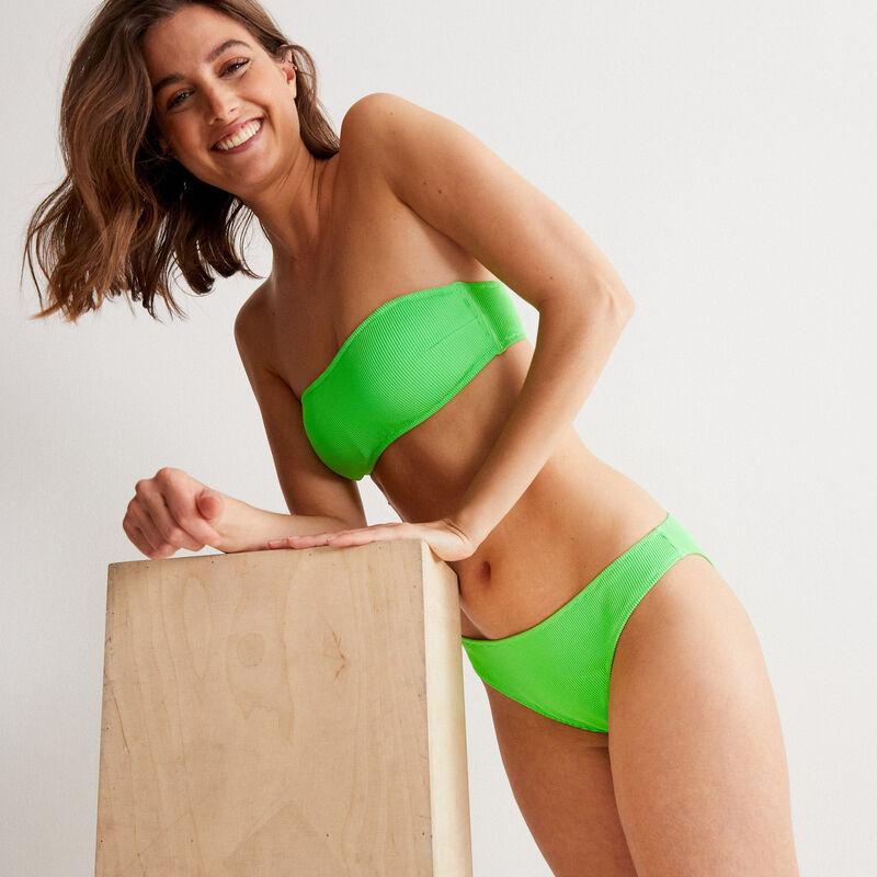 Parte de arriba de bikini bandeau gofrada - verde;