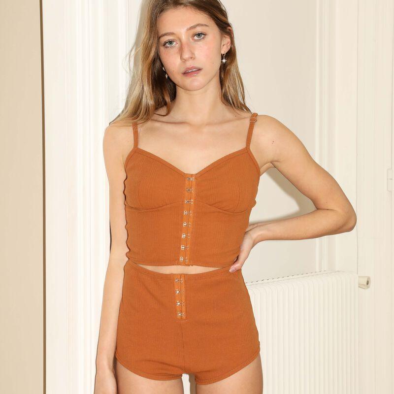 shorts de punto con detalle de corsé - marrón;