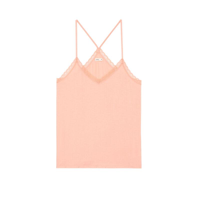 top de punto con tirantes finos - rosa;