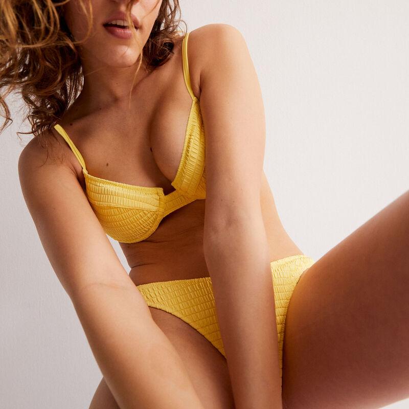 Parte de abajo de bikini braguita escotada efecto gofrado - amarillo;