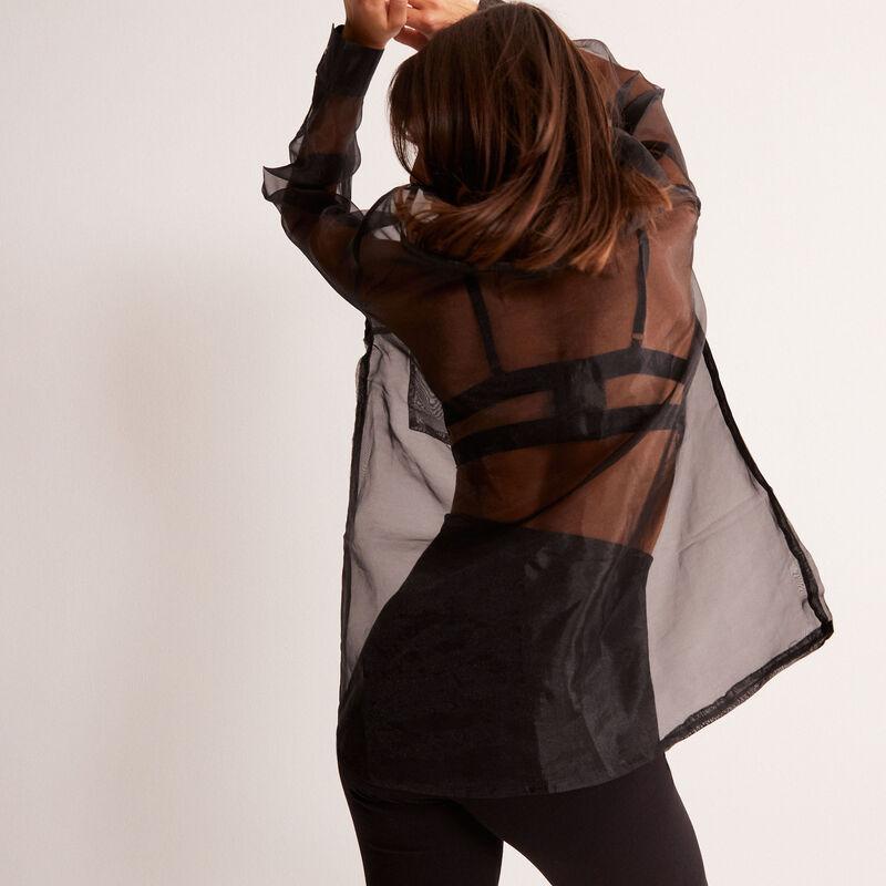 camisa larga transparente de tul - negra;