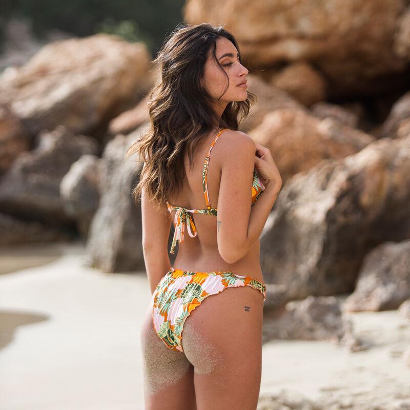 parte de abajo de bikini braguita con estampado tropical - naranja;