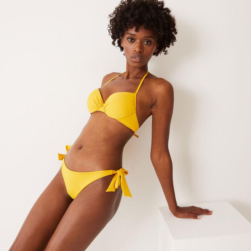 Braguita brasileña de bikini con lazos - amarillo;