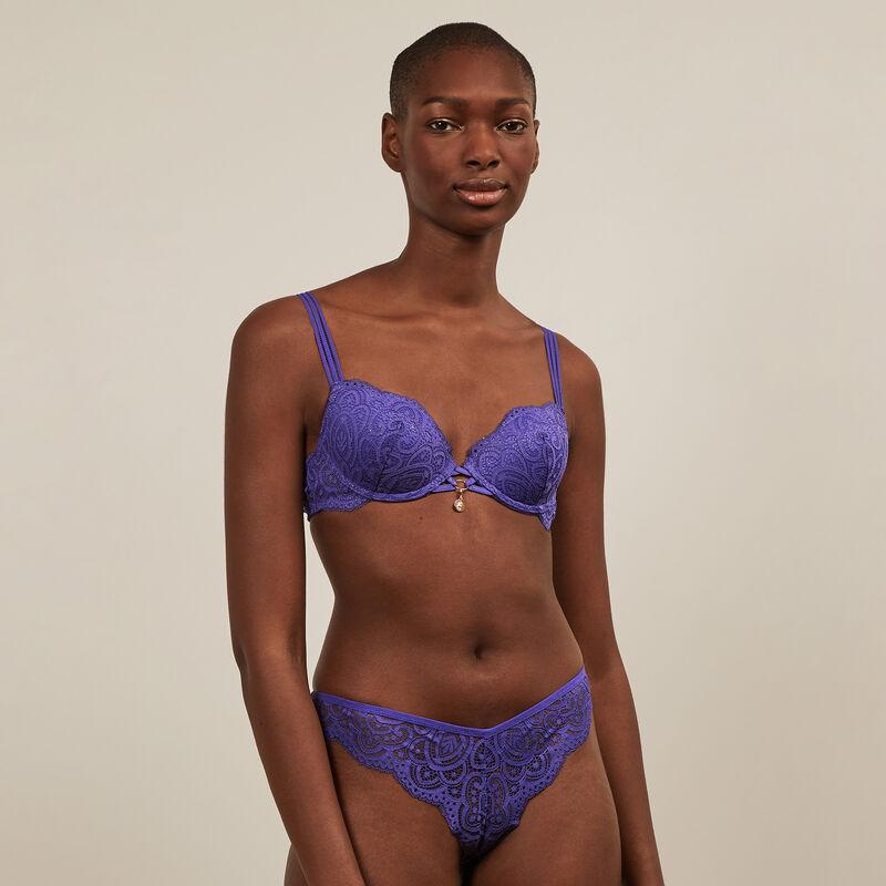 sujetador de aumento de encaje brillante - violeta ;