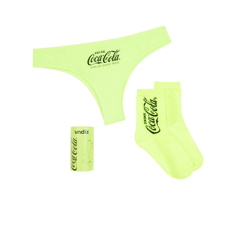 Juego de braguita + calcetines de coca-cola amarillo fluorescente;