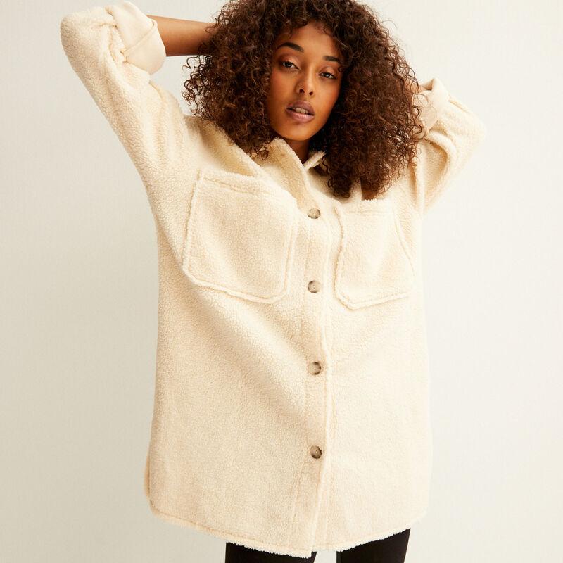 chaqueta oversize de rizo - crema;
