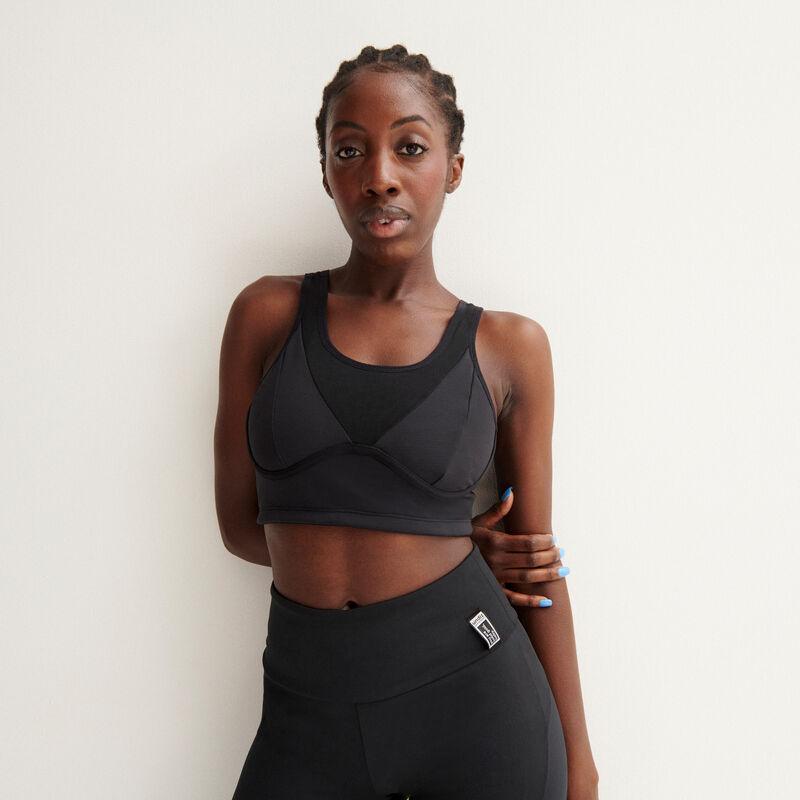 sujetador deportivo efecto malla - negro;