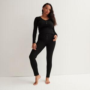 leggings acanalados moteados - negro