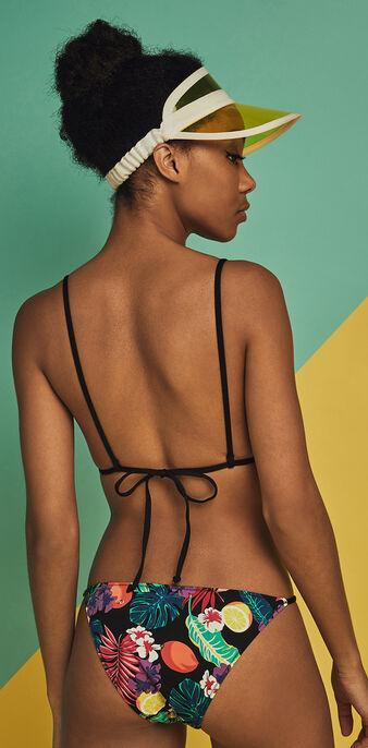 Top de bikini con estampado tropical guadeloupiz zwart.