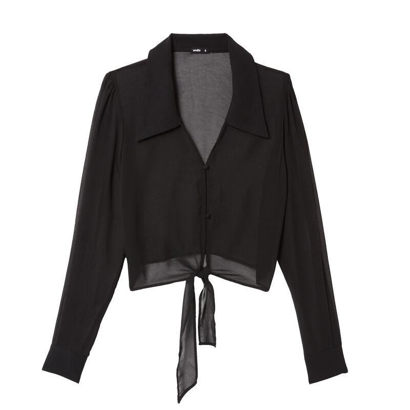 camisa crop de rejilla - negro ;