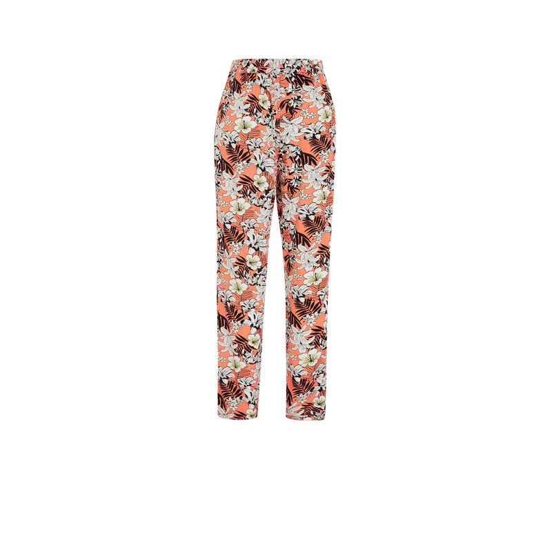 Pantalón con estampado de flores - coral;