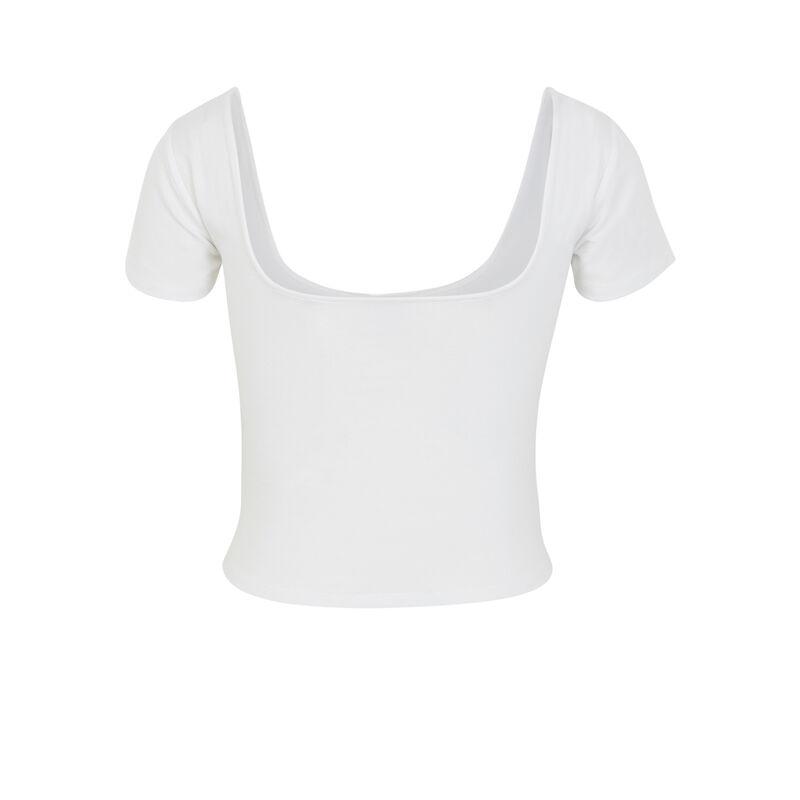 Top con cuello a cuadros - blanco;