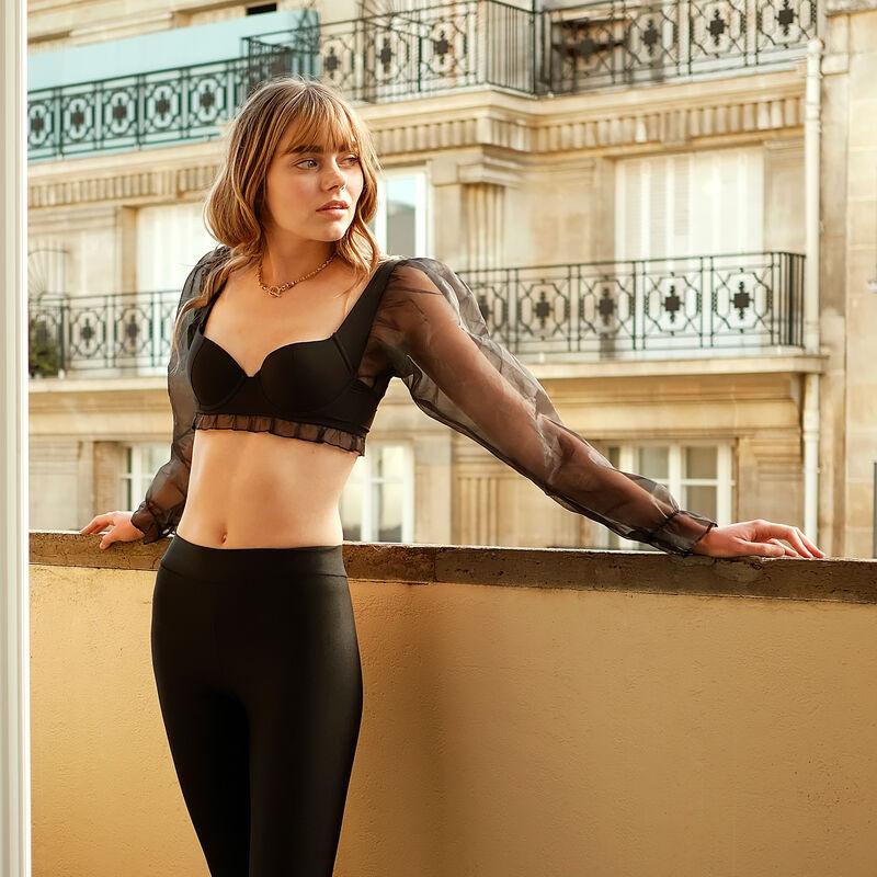 sujetador de aumento con manga larga - negro;