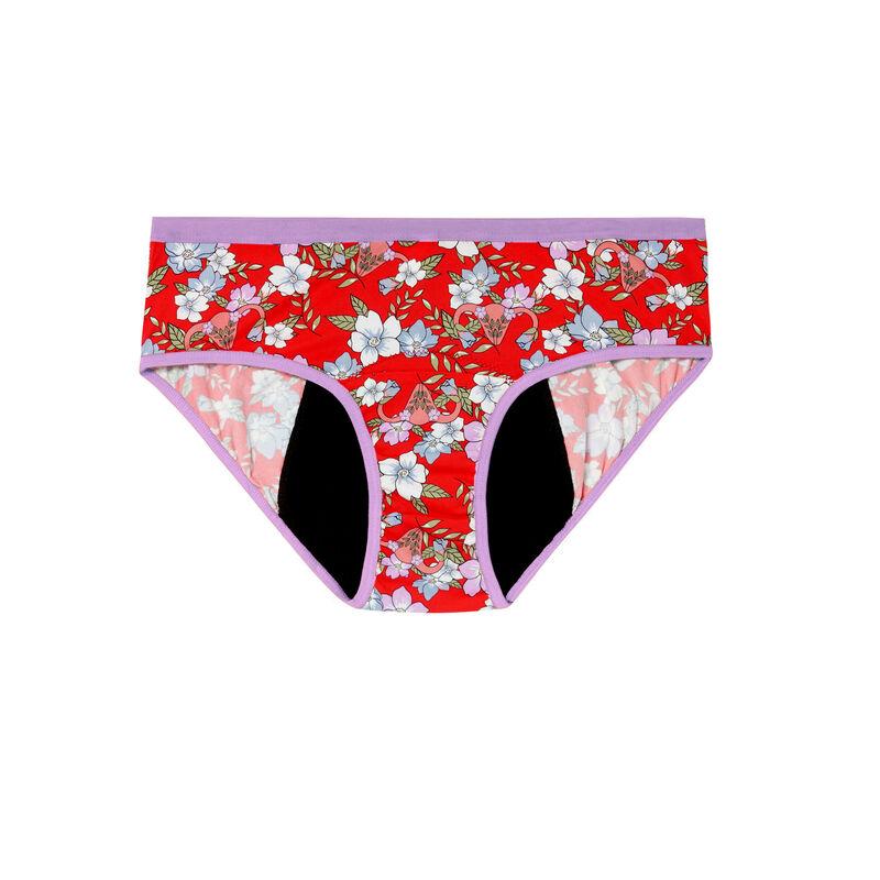 braguita menstrual con estampado de flores - rojo;