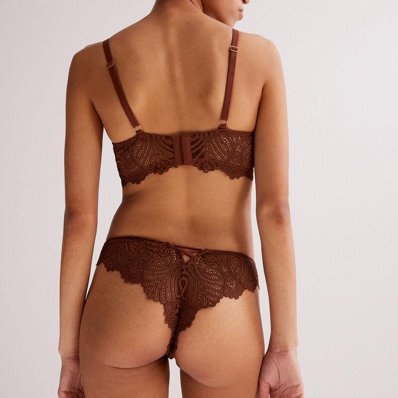 Sujetador corpiño de aumento con detalle de joya - marrón;