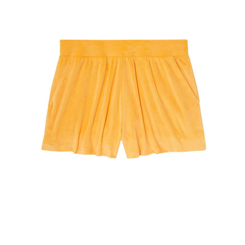 Pantalón corto liso de terciopelo - naranja;