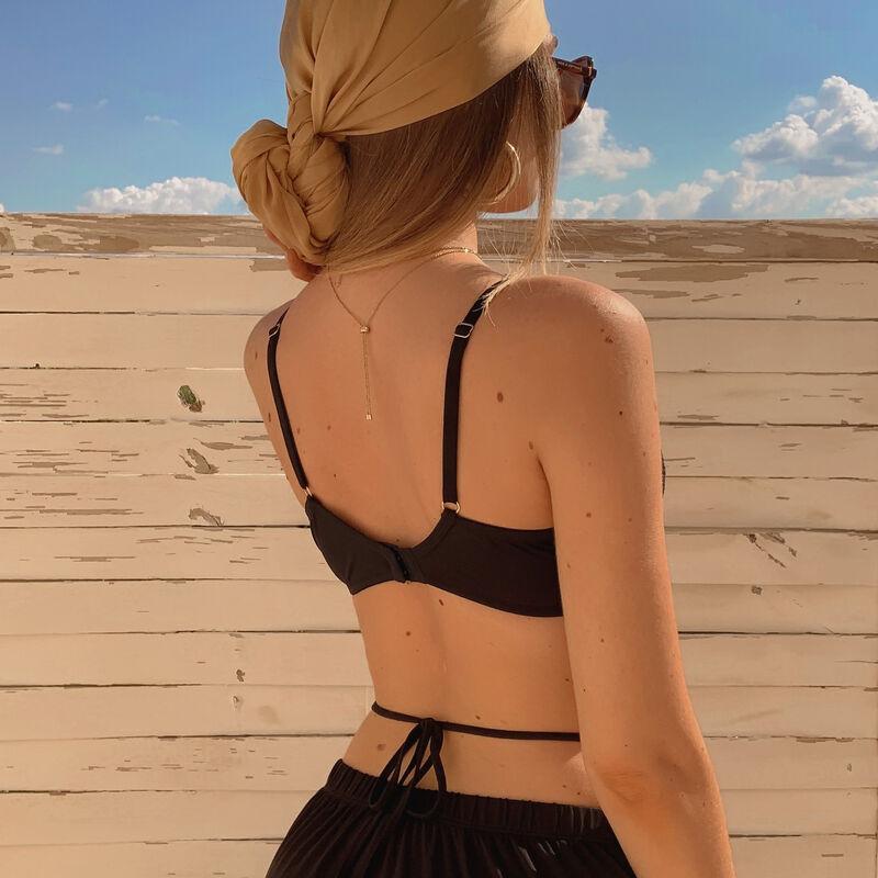 Sujetador con efecto corset - negro;