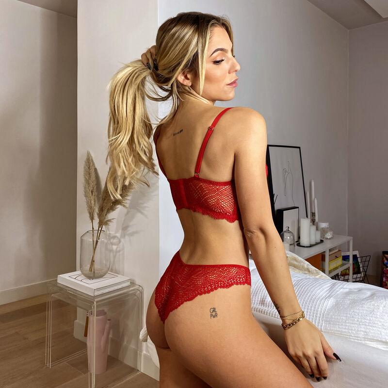 braguita brasileña de encaje calado - rojo ;