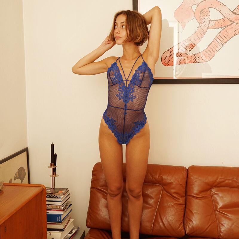 Body de rejilla - azul real;