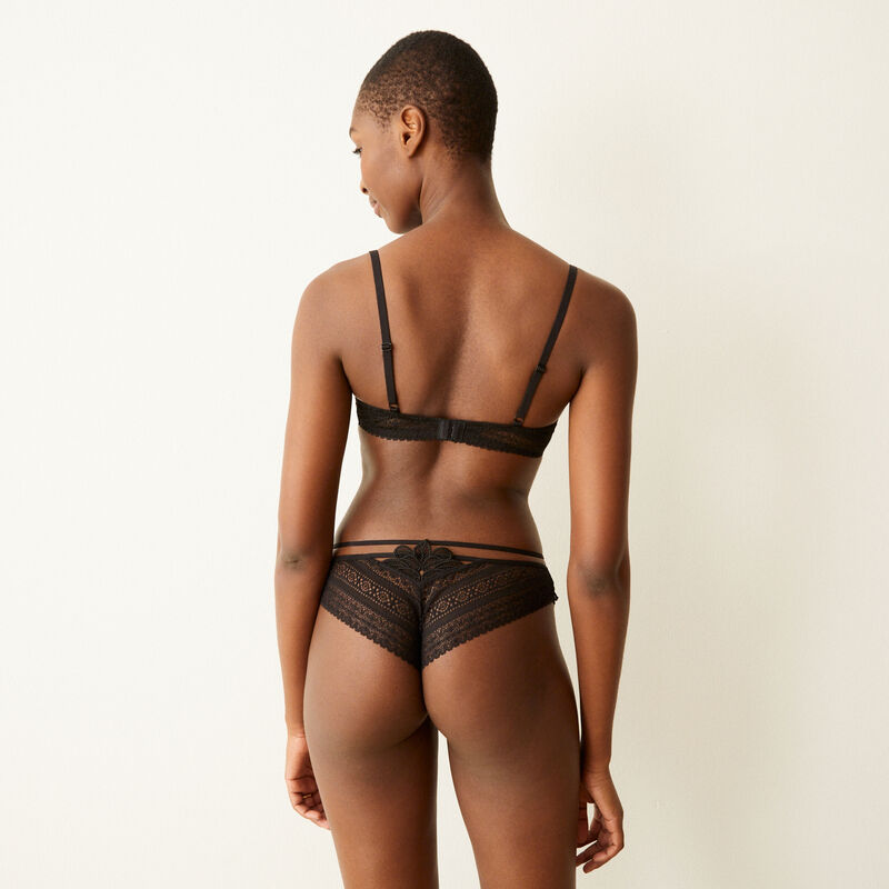 Braguita brasileña de encaje con detalle de cintas - negro;