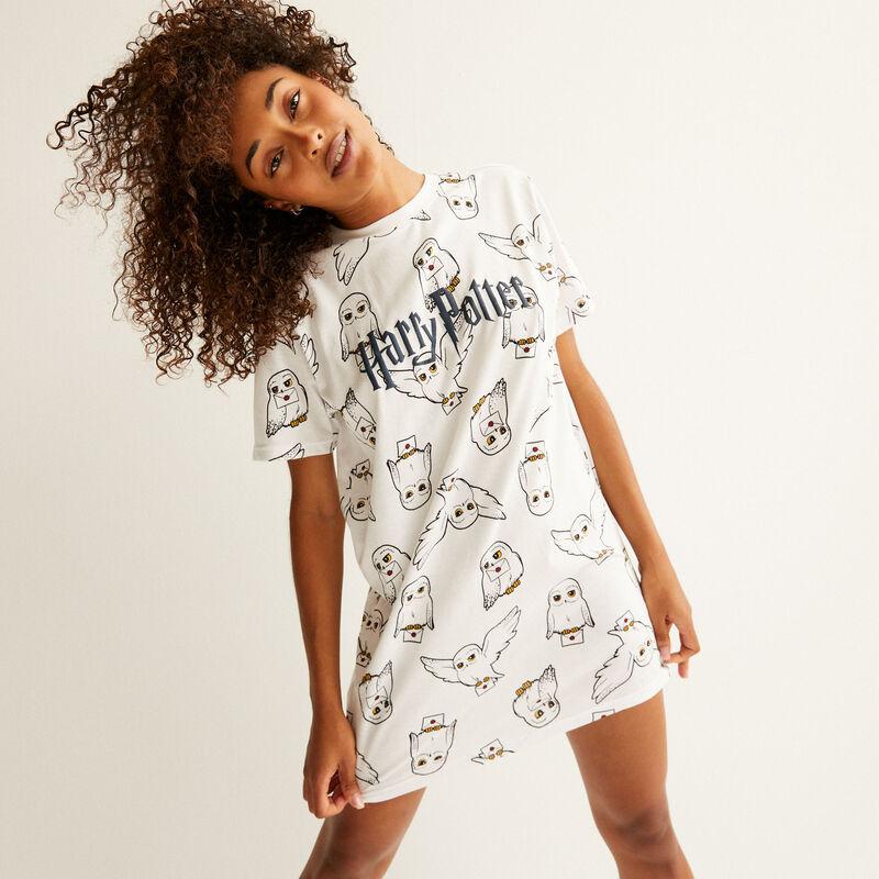 camiseta larga con motivs de hedwig - blanco;