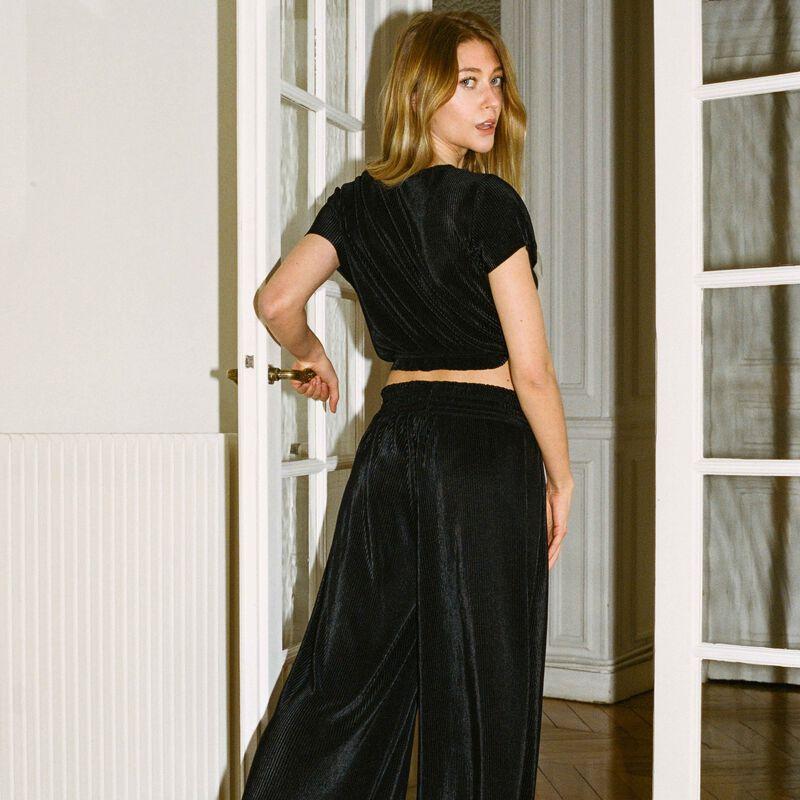 pantalón plisado con elástico fruncido - negro;