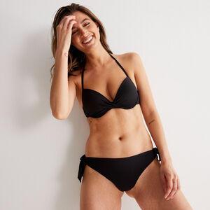Parte de abajo de bikini con detalles de lazos - negra