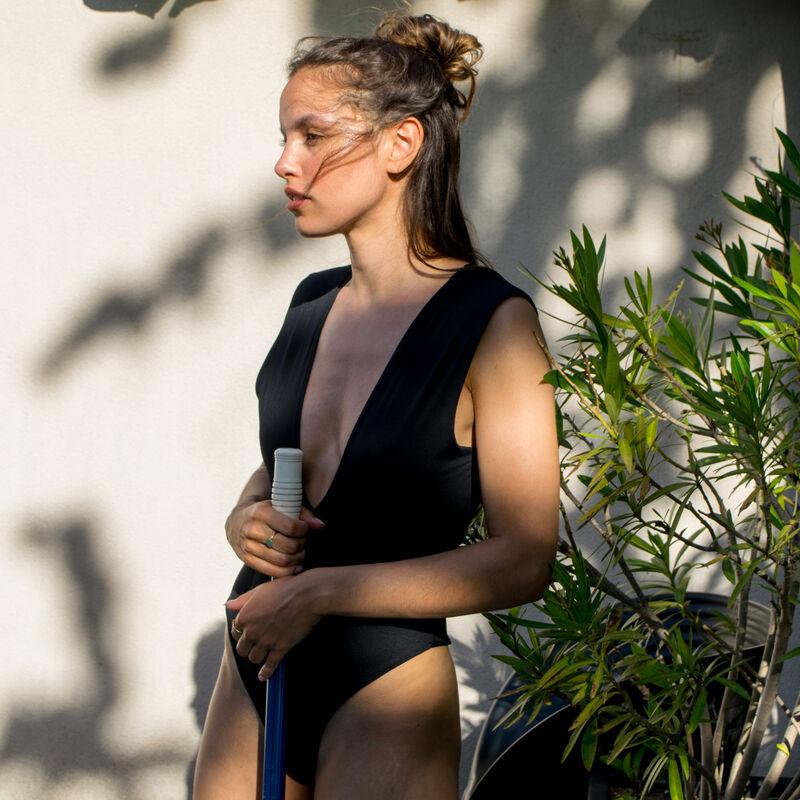 bañador de 1 pieza escotado en la espalda - negro;