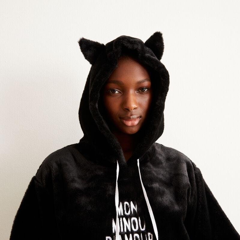 sudadera polar con mensaje mi gatito amoroso - negro;