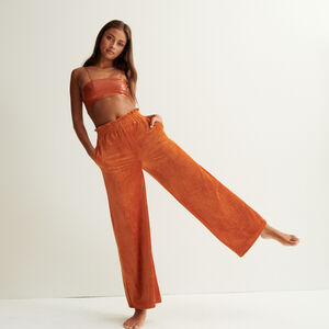 pantalón ancho de terciopelo - marrón