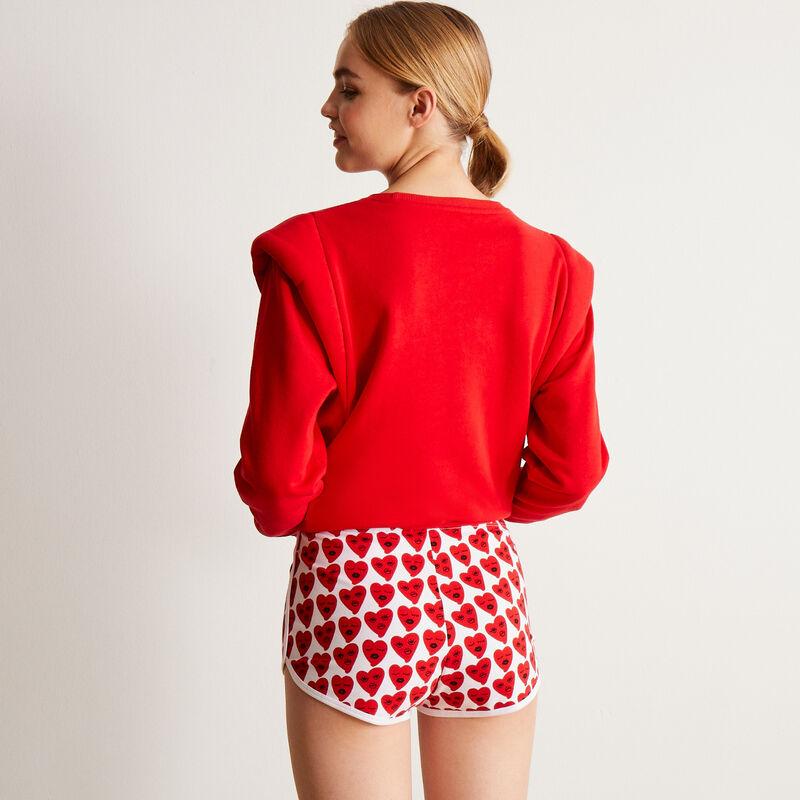 Shorts con motivos de corazones - blanco;