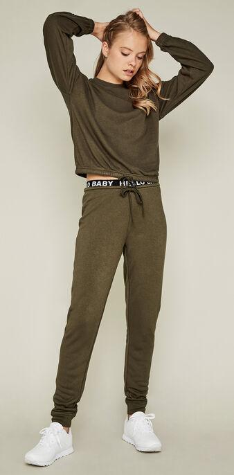 Pantalón deportivo caqui hellobabiz green.