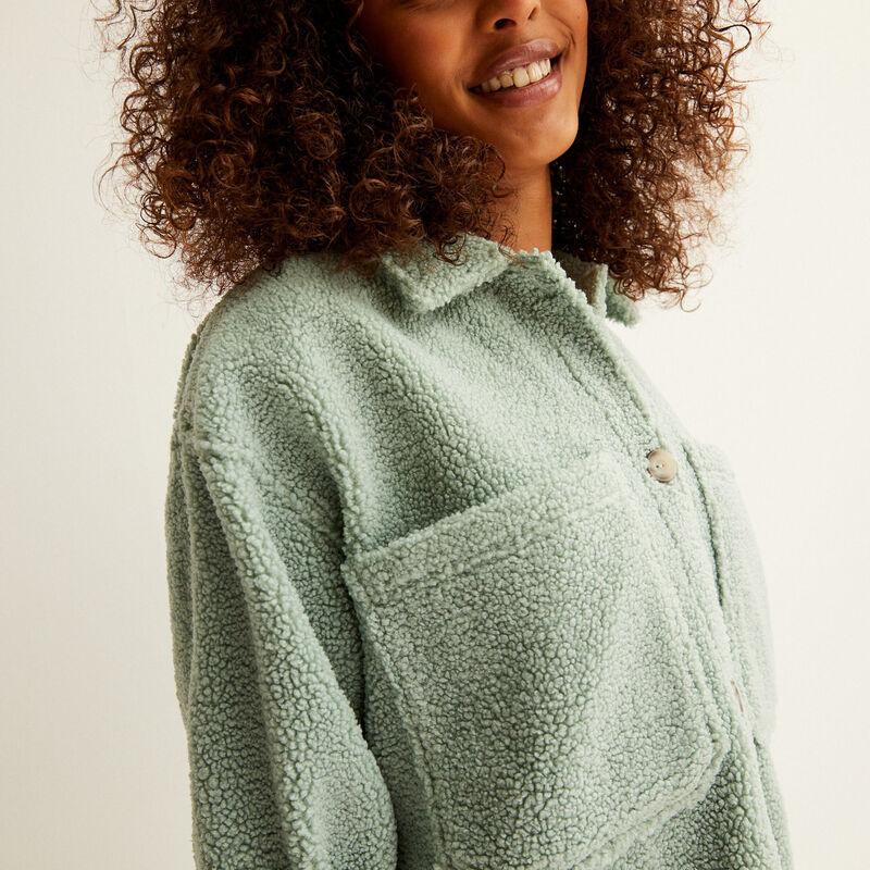 chaqueta oversize de rizo - verde agua;