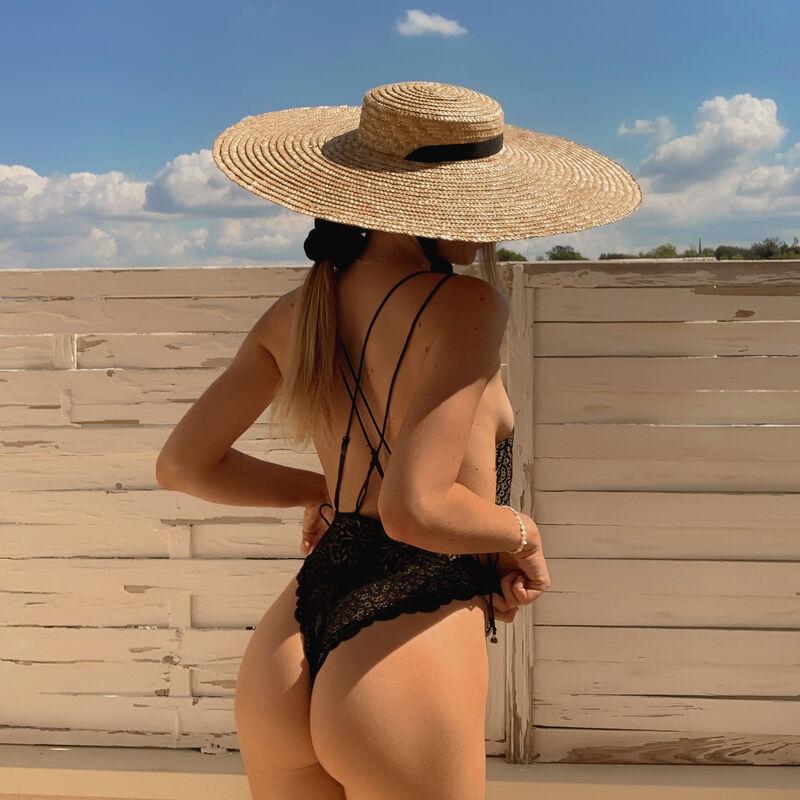 Body con tanga de encaje con detalle en la espalda - negro;