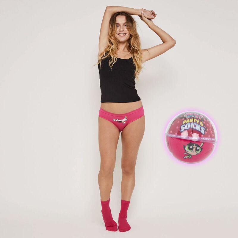 Conjunto braguita culotte + calcetines estampado Las Supernenas;