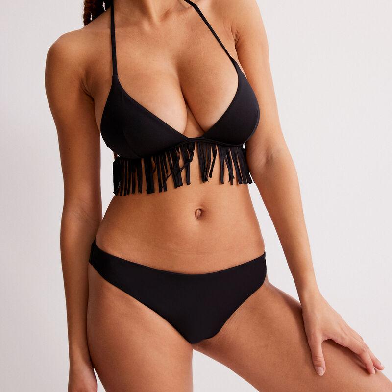 parte de arriba de bikini triángulo sin aros con flecos - negro;