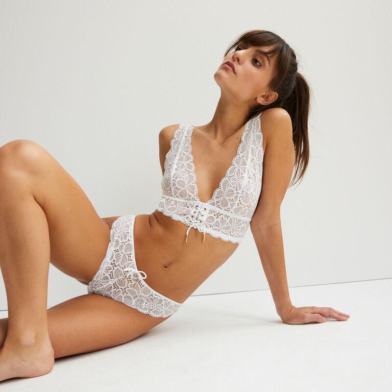 sujetador triangular con detalle de corsé - blanco;