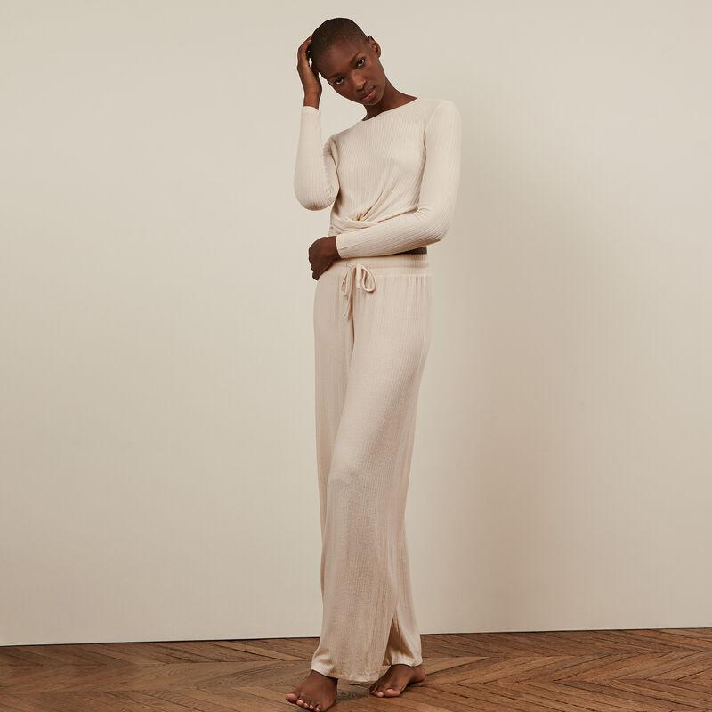 Pantalón ancho - blanco roto;