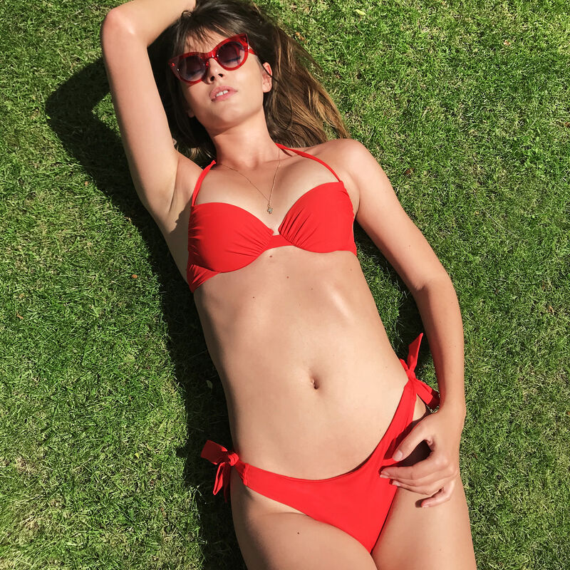 Parte de abajo de bikini tanga a anudar - rojo;